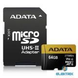 ADATA 64GB SD micro Premier ONE (SDXC Class 10 UHS-II U3) (AUSDX64GUII3CL10-CA1) memória kártya adapterrel