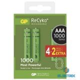 GP ReCyko+ AAA (HR03) 1000mAh akku 4+2db/bliszter