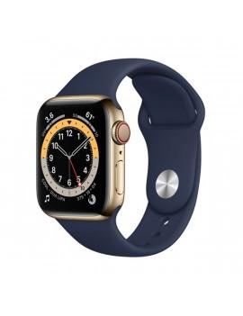 Apple Watch S6 GPS + Cellular 44mm arany acél tok tengerészkék sportpántos okosóra