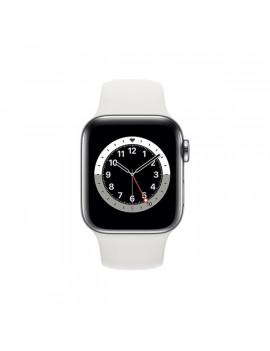 Apple Watch Series 6 GPS + Cellular 40mm ezüst rozsdamentes acél tok fehér sportszíjas okosóra
