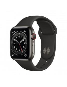 Apple Watch Series 6 GPS + Cellular 40mm grafit rozsdamentes acél tok fekete sportszíjas okosóra