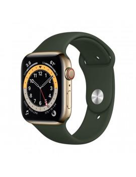 Apple Watch Series 6 GPS + Cellular 44mm arany rozsdamentes acél tok zöld sportszíjas okosóra