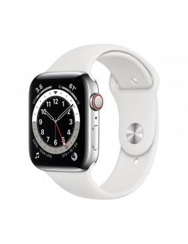 Apple Watch Series 6 GPS + Cellular 44mm ezüst rozsdamentes acél tok fehér sportszíjas okosóra