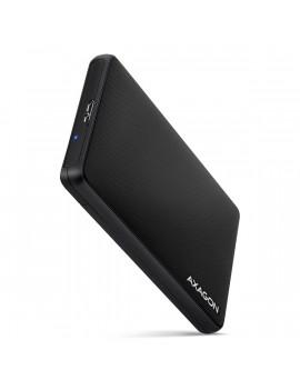 Axagon EE25-SL USB 3.2 fekete csavar nélküli külső HDD/SSD ház