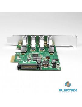 Axagon PCEU-43V 4 db külső USB3.0 portos 1 sávos LP támogatott PCI-Express kártya