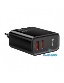 Baseus Speed Dual USB QC3.0 30W fekete hálózati gyorstöltőfej