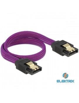 Delock 83690 6 Gb/s 30 cm egyenes/ egyenes (fémlappal) metál lila prémium SATA összekötő kábel