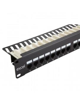EXCEL Cat.5E UTP 24 portos patch panel, 1U, fekete tehermentesítővel