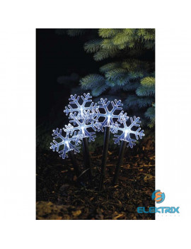 Emos ZY2350 5x30cm/5LED/2xAA/hideg fehér időzítős karácsonyi kerti hópihe dekoráció