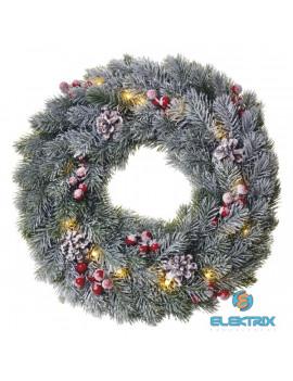 Emos ZY2354 38cm/20LED/2xAA/meleg fehér karácsonyi havas fenyőkoszorú dekoráció
