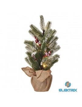 Emos ZY2355 52cm/20LED/3xAA/meleg fehér karácsonyi havas fenyőfa dekoráció