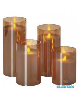 Emos ZY2368 4LED/8xAA üveg vintage karamell színű gyertya 4db