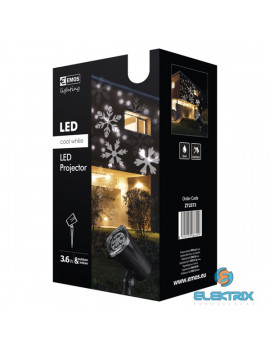 Emos ZY2373 LED/IP44 fehér karácsonyi hópihe kültéri projektor