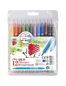 ICO Süni 300 Duo kétvégű 12db-os vegyes színű rostirón készlet