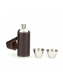 Kikkerland BA58 5x15cm/236ml poharakkal bőr tokban fém palack