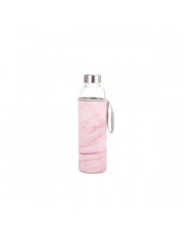 Kikkerland CU271 rózsaszín márvány tokban újratölthető vizespalack