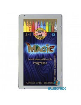 Koh-I-Noor 8772 Progresso Magic henger alakú 12db-os vegyes színű színes ceruza