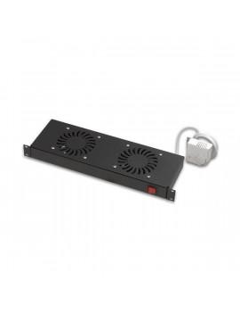 Lande LN-FAN-THM-2FFS-BL 2 modulos fekete ventilátor egység termosztáttal