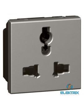 Legrand 572623 Arteor Multistandard socket 2P+E unswitched, shuttered, 2 modules, magnesium