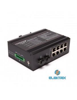 LinkEasy ISW-208 2xGbE SFP+8x10/100/1000BaseTX duál  DC10~58V bemenet, DIN sín, -40~+85C ipari switch