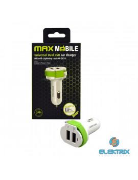 Max Mobile 3,4A univerzális 2xUSB fehér-zöld autós töltő + MFI Apple kábel