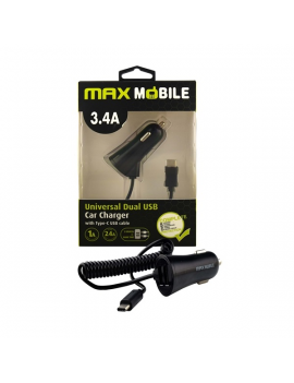 Max Mobile 3,4A univerzális autós töltő + fekete Type-C kábel