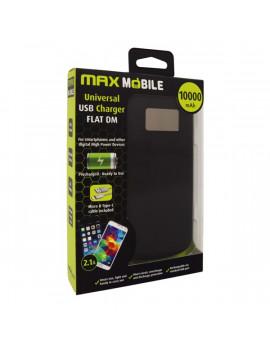 Max Mobile Flat DM 10000mA 2x USB kijelzős fekete power bank