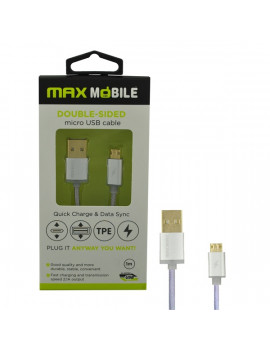Max Mobile 1m szimmetrikus csatlakozású ezüst Micro USB kábel