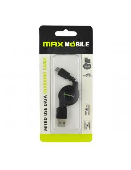 Max Mobile fekete Micro USB önbetekerős kábel