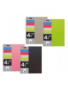 Miquelrius A5 4x25lapos PP kockás színes spirálfüzet