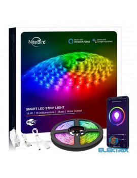 NITEBIRD SL2/5m/12V/1A/hangvezérlés/távoli vezérlés/ütemezés/zene és APP vezérlés/Smart Wi-Fi-s LED szalag