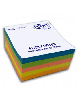 Point Cube 76x76mm 400lapos többféle élénk színű öntapadós jegyzettömb