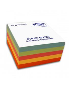 Point Cube 76x76mm 400lapos többféle pasztell színű öntapadós jegyzettömb