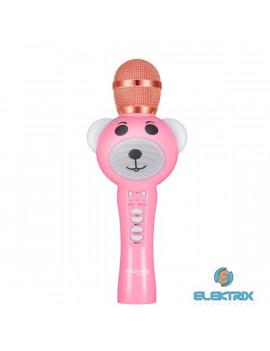 Promate RockStar-2 rózsaszín Bluetooth gyermekek karaoke mikrofon