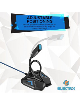 Promate Streamer nagy felbontású kék gamer USB mikrofon